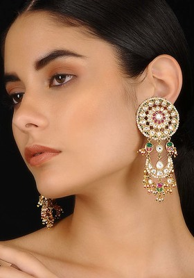 Multicolored Gold Tone Kundan Inspired Chaandbali Earrings