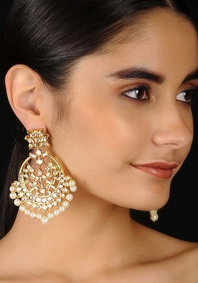Gold Tone Kundan Inspired Chaandbali Earrings