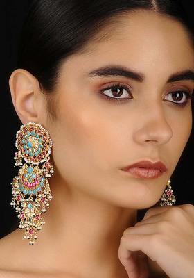 Pink-Turquoise Gold Tone Kundan Inspired Chaandbali Earrings