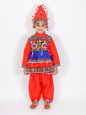 Orange kutchi mirror work kedia for boys