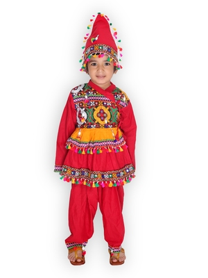 Red kutchi mirror work kedia for boys