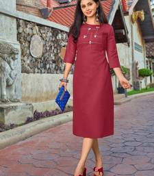 Pink embroidered cotton party-wear-kurtis