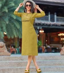 Green embroidered cotton party-wear-kurtis