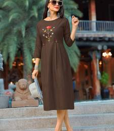Brown embroidered cotton party-wear-kurtis