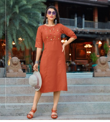 Orange Embroidered Cotton Party-Wear-Kurtis