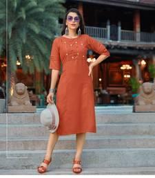 Orange embroidered cotton party-wear-kurtis