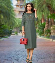 Dark-green embroidered cotton party-wear-kurtis