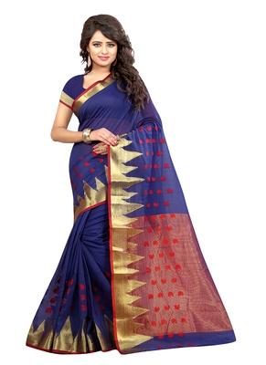 navy blue woven cotton silk blend saree with blouse