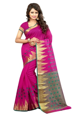 rani pink woven cotton silk blend saree with blouse