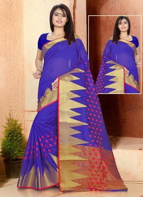 Blue woven cotton silk blend saree with blouse