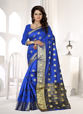 Violet woven cotton silk blend saree with blouse