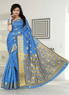 light blue woven cotton silk blend saree with blouse