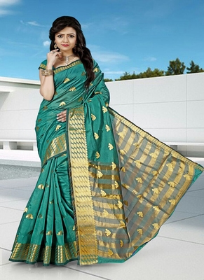 Green woven cotton silk blend saree with blouse