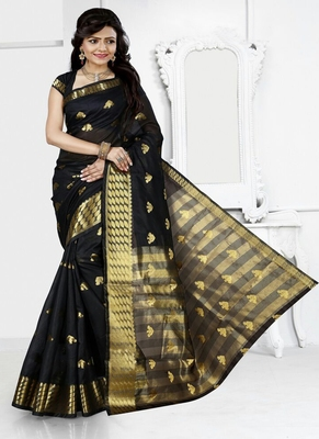 Black woven cotton silk blend saree with blouse