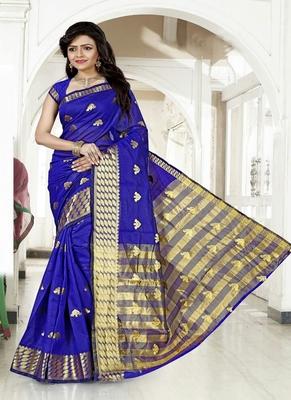 Dark blue woven cotton silk blend saree with blouse