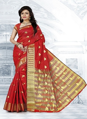 Red woven cotton silk blend saree with blouse
