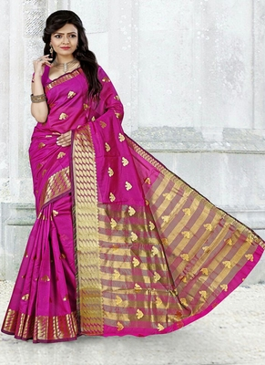 Magenta woven cotton silk blend saree with blouse