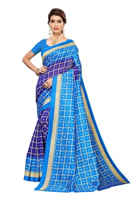 Navy blue printed art silk saree with blouse