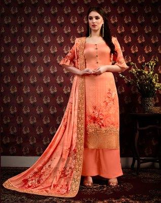 Orange digital print crepe salwar