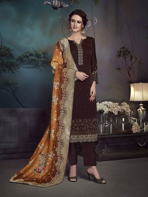 Brown embroidered faux georgette salwar
