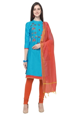Sky-blue embroidered cotton salwar suit with chanderi cotton dupatta