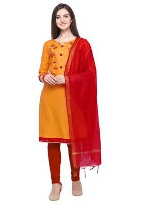 Mustard Yellow embroidered cotton salwar suit with chanderi cotton dupatta