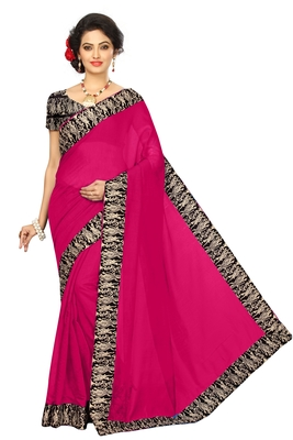 Pink plain chanderi saree with blouse