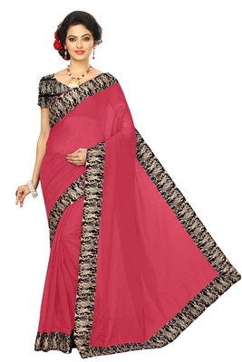 Peach plain chanderi saree with blouse
