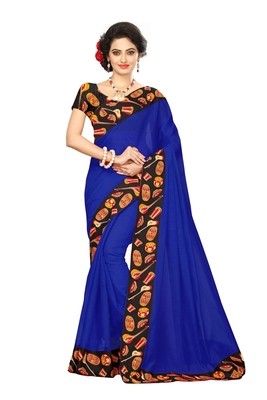 Blue plain chanderi saree with blouse