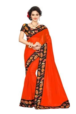 Orange plain chanderi saree with blouse