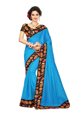 Sky blue plain chanderi saree with blouse