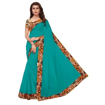 Green plain chanderi saree with blouse