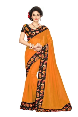 Mustard plain chanderi saree with blouse