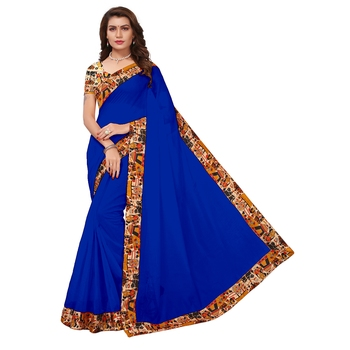 Blue plain chanderi saree with blouse