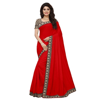 Red plain chanderi saree with blouse