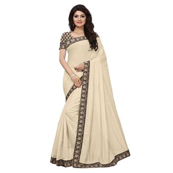 Cream plain chanderi saree with blouse