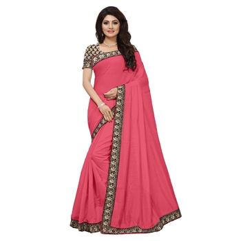 Pink plain chanderi saree with blouse