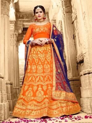 Orange Embroidered Net Semi Stitched Lehenga