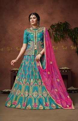 Light-blue embroidered silk semi stitched lehenga