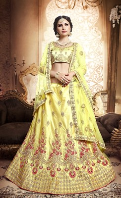 Light-yellow embroidered silk semi stitched lehenga