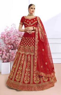 Maroon embroidered silk semi stitched lehenga