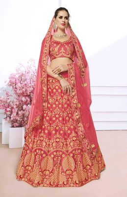 Peach Embroidered Silk Semi Stitched Lehenga