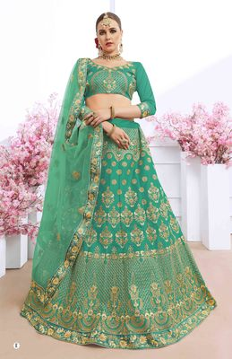 Light-green embroidered silk semi stitched lehenga