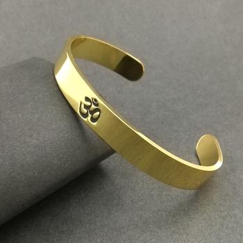 Gold Plated Stainless Steel Om Religious Cuff Kada for Men & Boys/Unisex