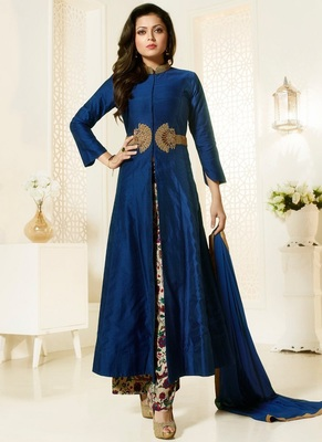blue embroidred cotton semi stitched salwar with dupatta
