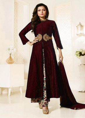 maroon embroidered cotton semi stitched slwar with dupatta