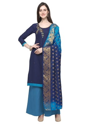 NAVY BLUE BEADS COTTON UNSTITCHED SALWAR SUIT WITH BANARASI DUPATTA