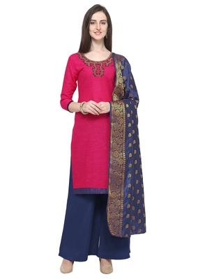 MAGENTA PINK BEADS COTTON UNSTITCHED SALWAR SUIT WITH DUPATTA
