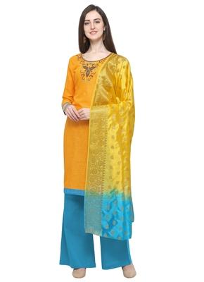 Yellow beads cotton salwar unstitched salwar suit with Banarasi dupatta