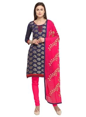 Navy-blue banarasi brocade unstitched salwar suit with embroidered dupatta